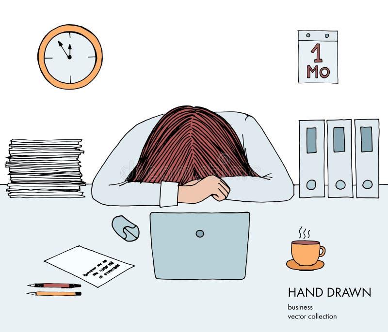La empresaria joven puso su cabeza abajo en la tabla Frustrado, agotado, soñoliento, cansado de trabajo Ordenador portátil, orden libre illustration