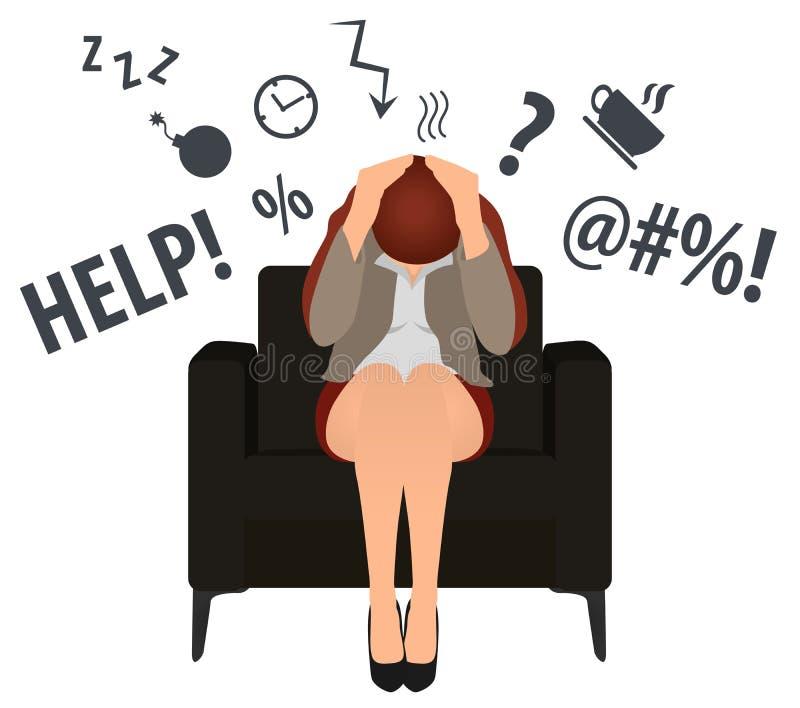 La empresaria o el oficinista trabajada demasiado y cansada se sienta en una silla Tensi?n del negocio ejemplo moderno del vector libre illustration