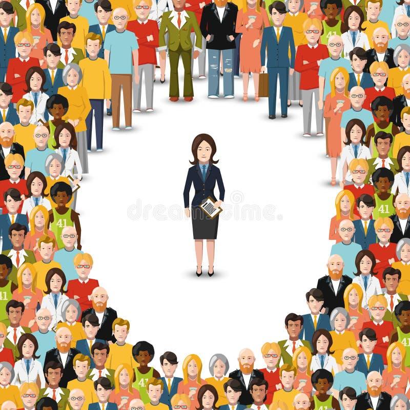 La empresaria permanecía aparte de la muchedumbre, ejemplo plano en blanco stock de ilustración