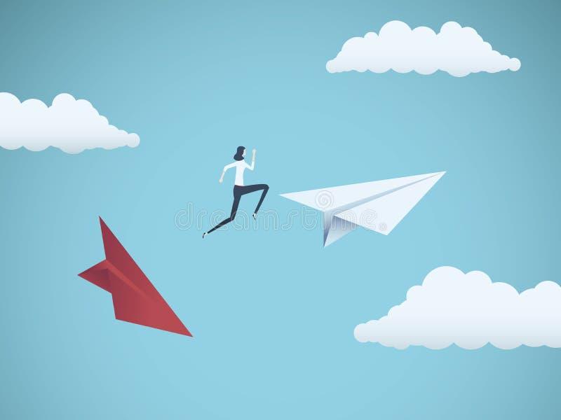 La empresaria que salta entre los aviones de papel Símbolo o metáfora del negocio para el riesgo, el peligro, el cambio, el escap stock de ilustración