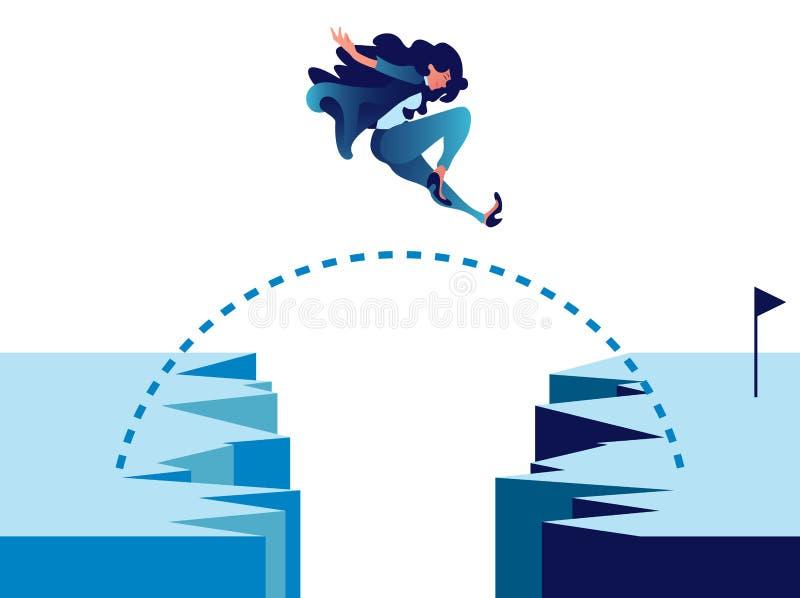 La empresaria que salta a través del acantilado de la montaña a la meta stock de ilustración