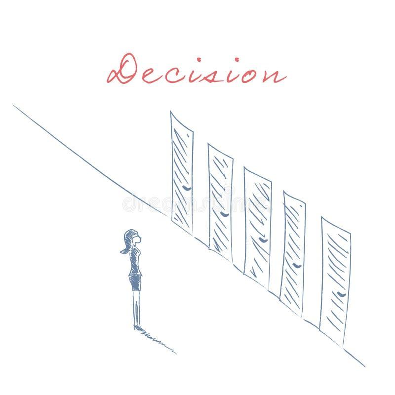 La empresaria que se coloca delante de diversas puertas da vector exhausto del bosquejo Concepto del negocio de decisión, carrera stock de ilustración