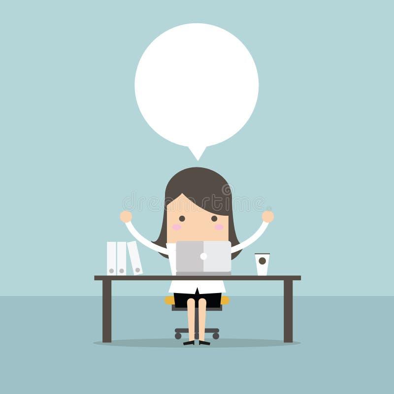 La empresaria que se sienta en la tabla delante del ordenador y sobre algo pensó ilustración del vector