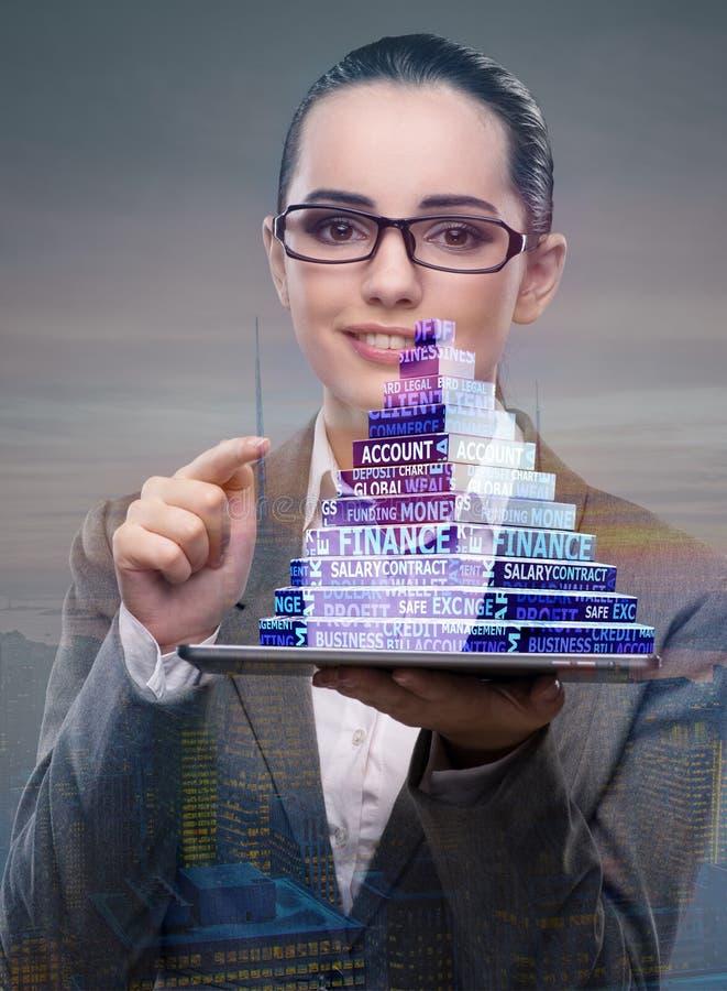 La empresaria que sostiene la pirámide en concepto del negocio foto de archivo