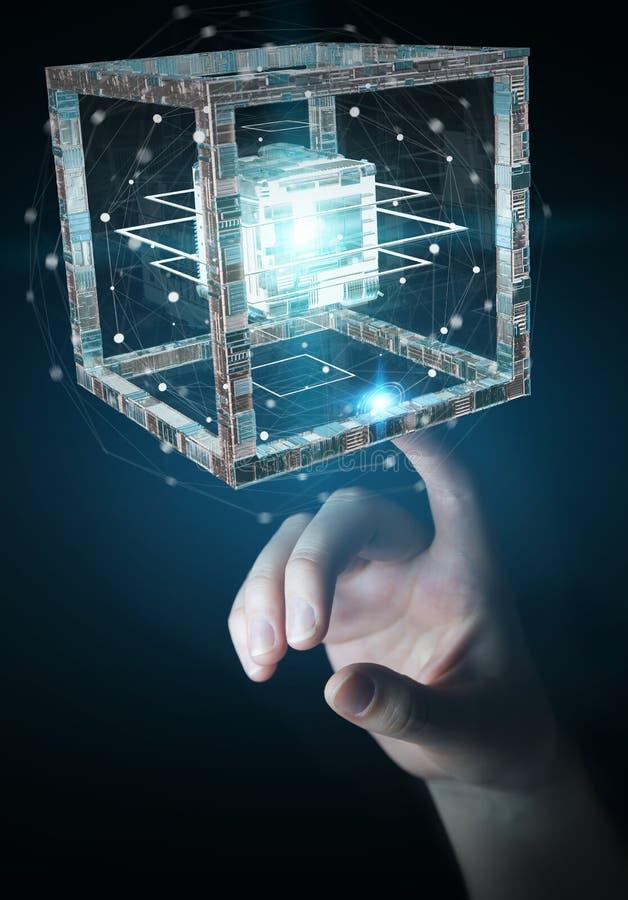 La empresaria que usaba el cubo futurista texturizó la representación del objeto 3D stock de ilustración