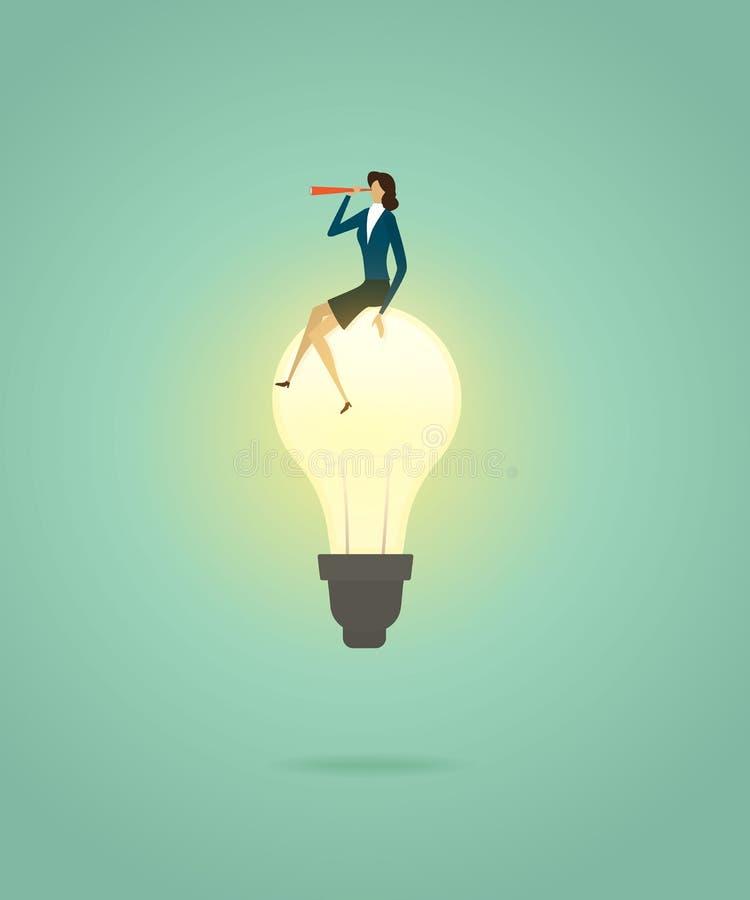 La empresaria se sienta en la solución creativa del concepto de la bombilla y con el telescopio para ver la visión, succes de la  libre illustration