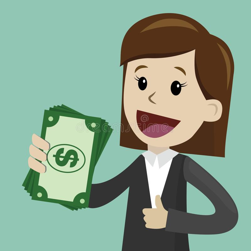 La empresaria sostiene el dinero en su mano y tiene beneficio Negocio de Succsessful pagos libre illustration