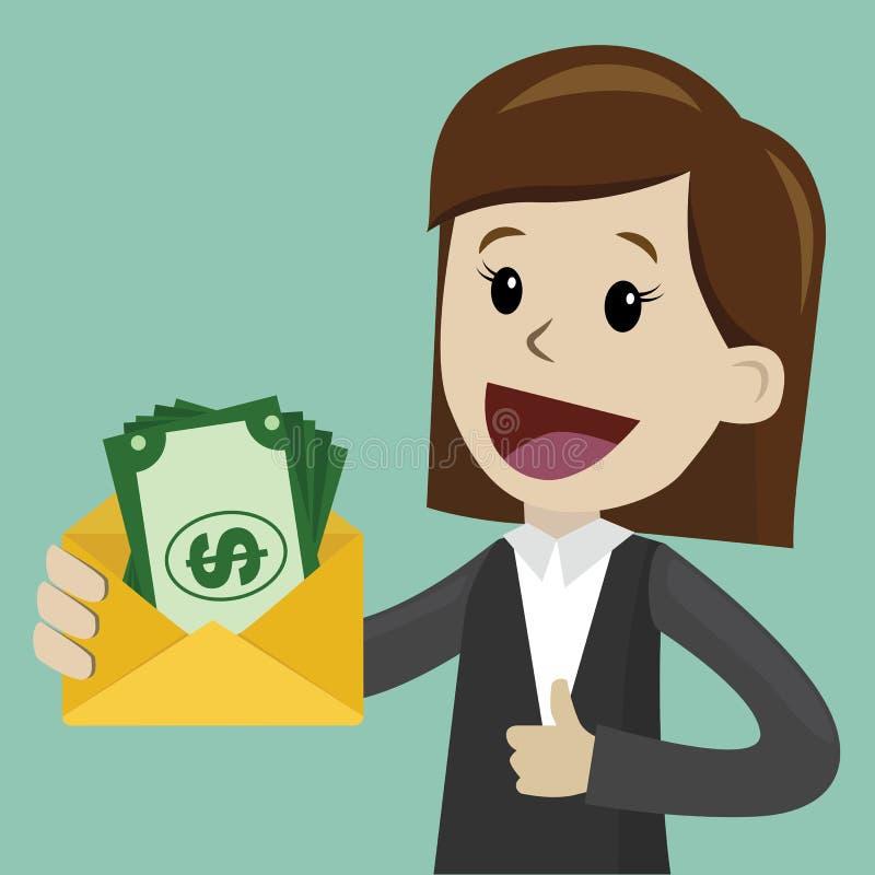 La empresaria sostiene el dinero en su mano y tiene beneficio Negocio de Succsessful pagos stock de ilustración