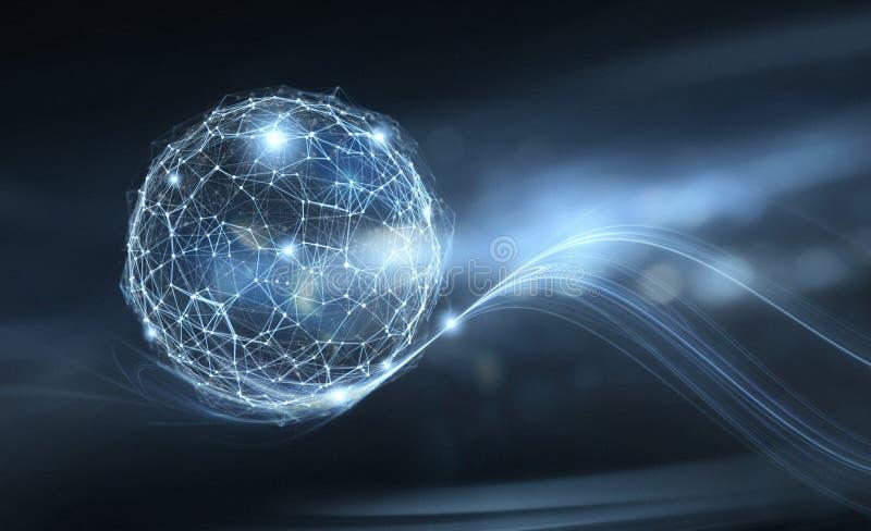 La empresaria sostiene el globo de Internet Concepto de conexión y de red ilustración del vector