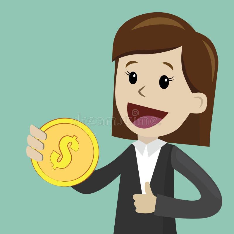La empresaria sostiene la moneda en su mano y tiene beneficio Negocio de Succsessful pagos ilustración del vector