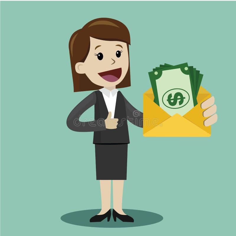 La empresaria sostiene la moneda en su mano y tiene beneficio Negocio de Succsessful pagos stock de ilustración