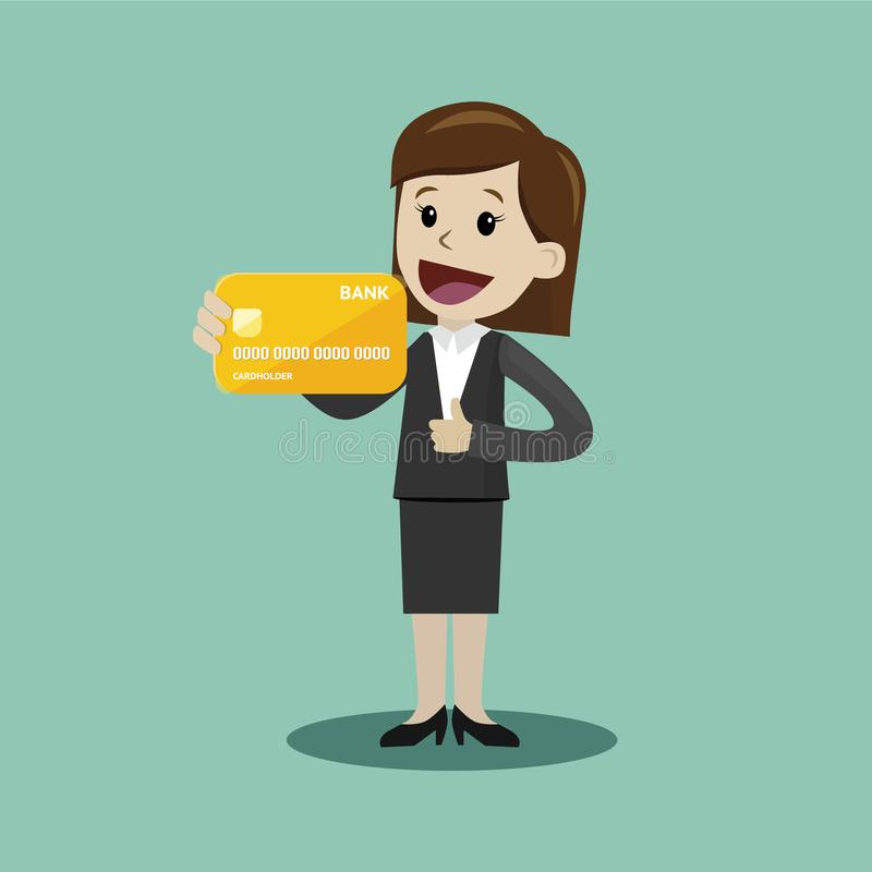 La empresaria sostiene la tarjeta de crédito en su mano y tiene beneficio Negocio de Succsessful pagos stock de ilustración
