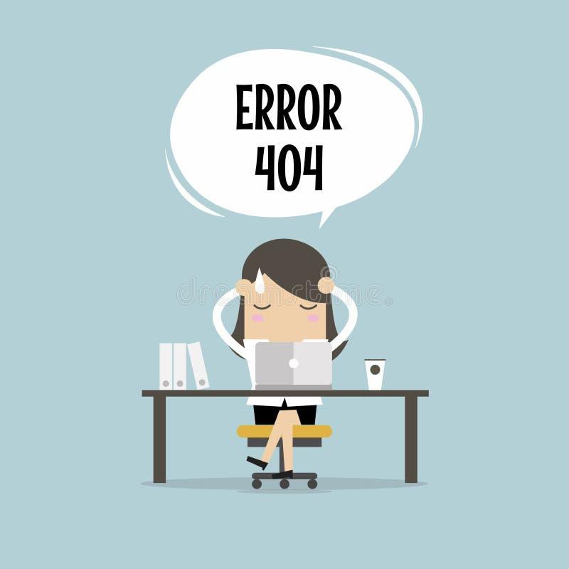 La empresaria tiene un error de Internet del problema ilustración del vector