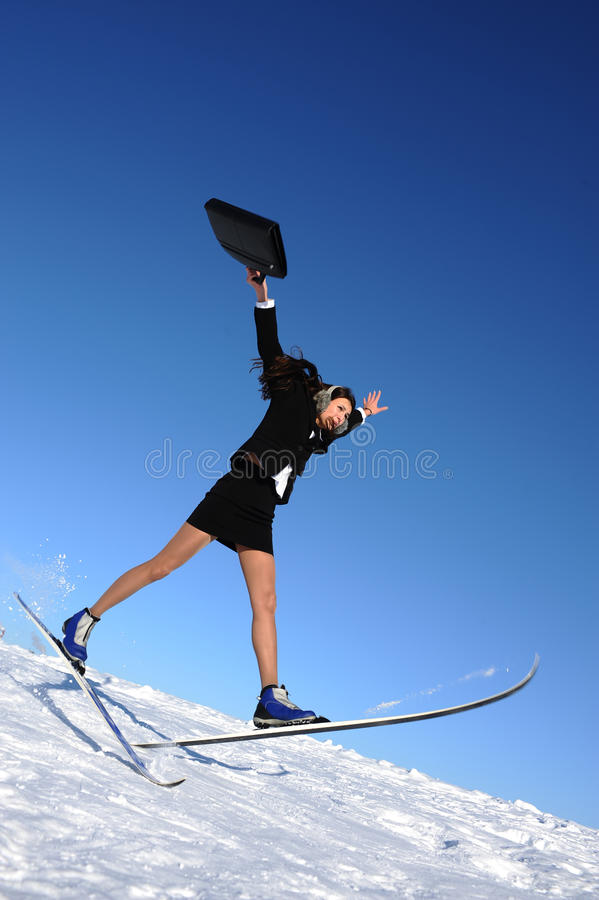 La empresaria va a esquiar imágenes de archivo libres de regalías