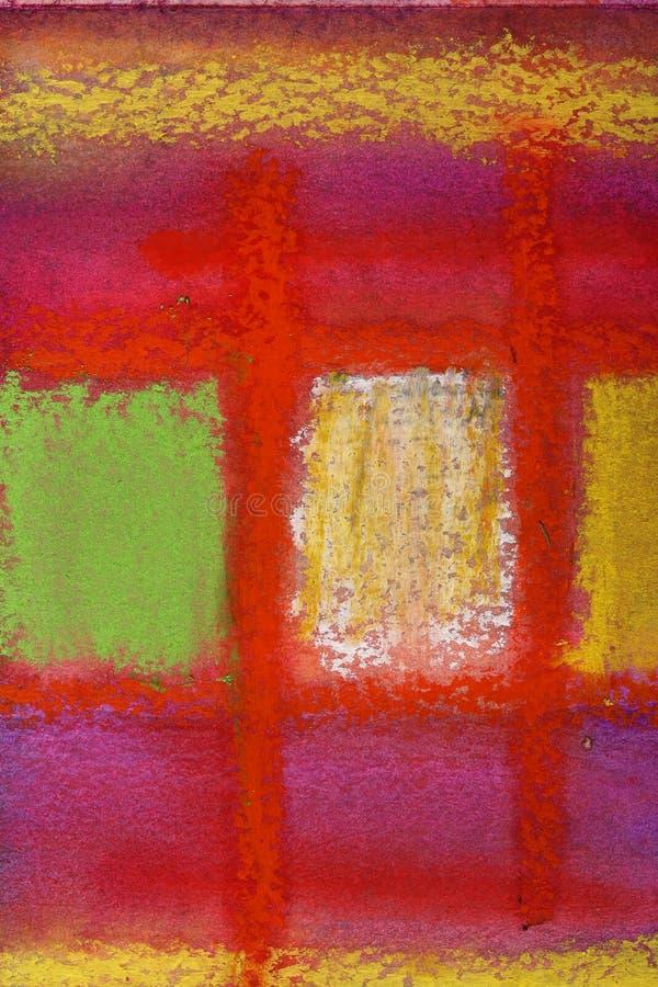 La En colores pastel-pintura abstracta muestra líneas de la travesía en rojo oscuro stock de ilustración