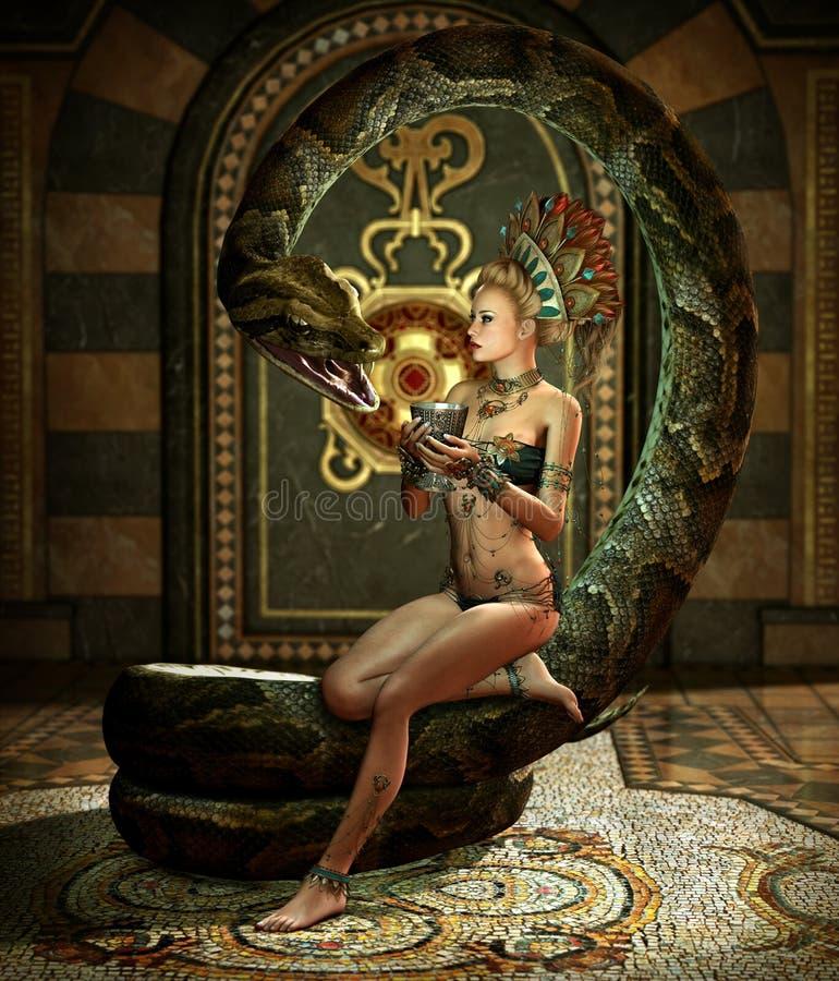 La encantadora 3d CG de la serpiente stock de ilustración