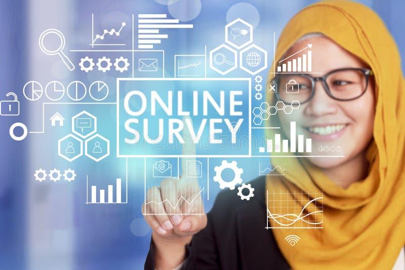 La encuesta en línea, márketing de motivación de Internet del negocio redacta el Qu imagenes de archivo