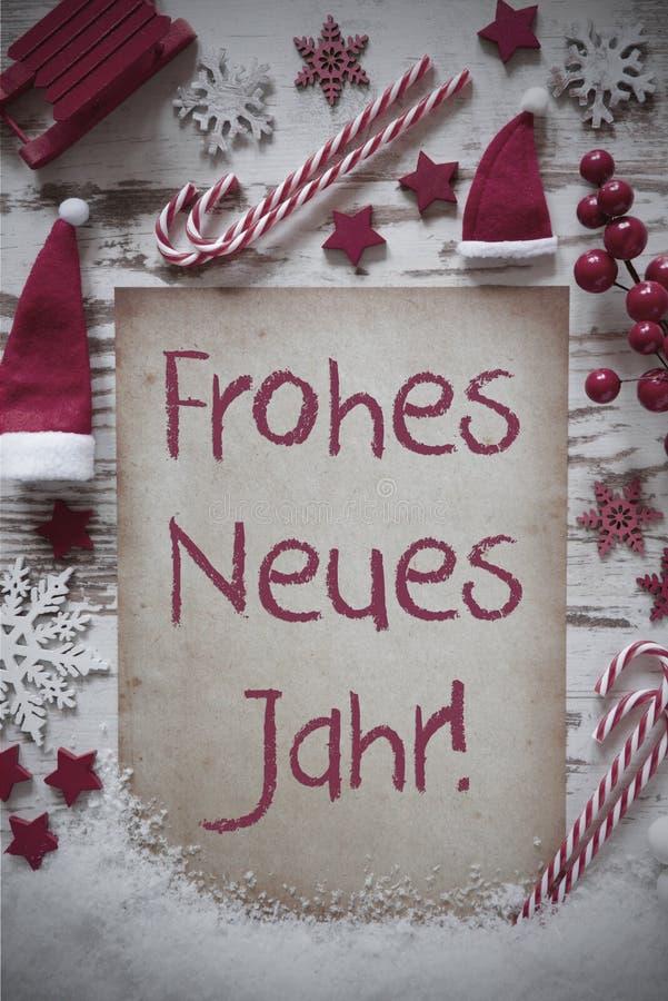 La endecha plana de la Navidad retra, nieve, Frohes Neues significa Feliz Año Nuevo imágenes de archivo libres de regalías