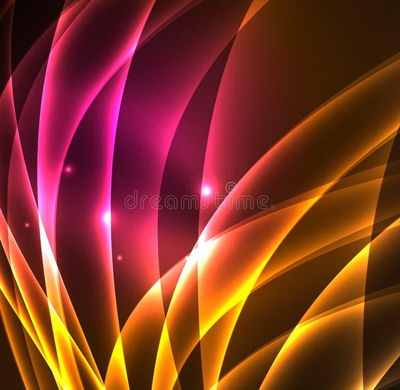 La energía alinea, brillando intensamente agita en la oscuridad, fondo abstracto del vector stock de ilustración