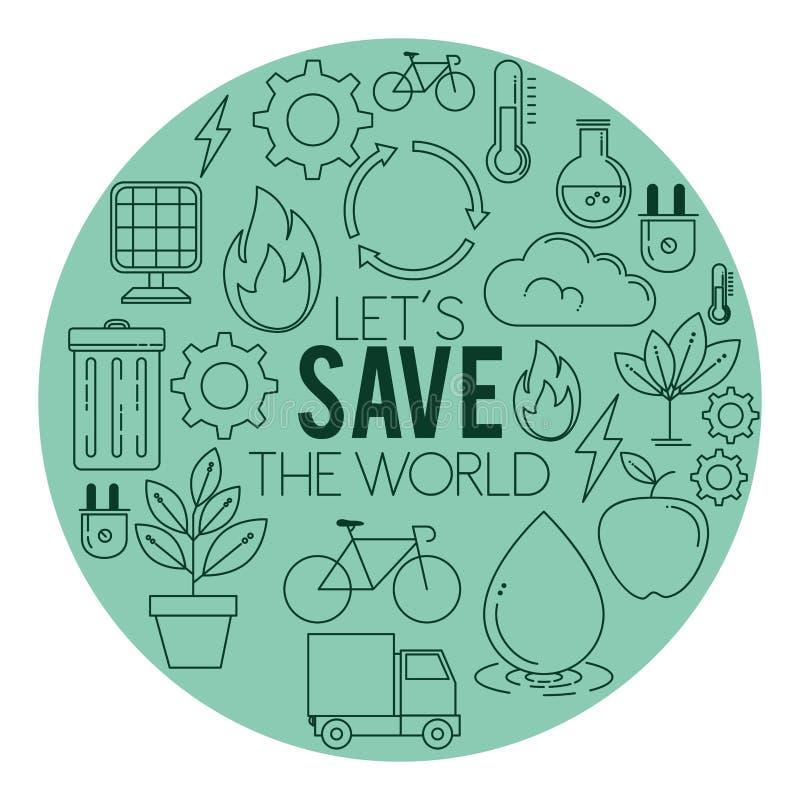 La energía de Eco va fondo ambiental y de la ecología verde ilustración del vector