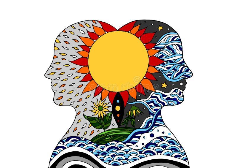 La energía del poder del alcohol de la cabeza humana conecta con el vector del universo stock de ilustración