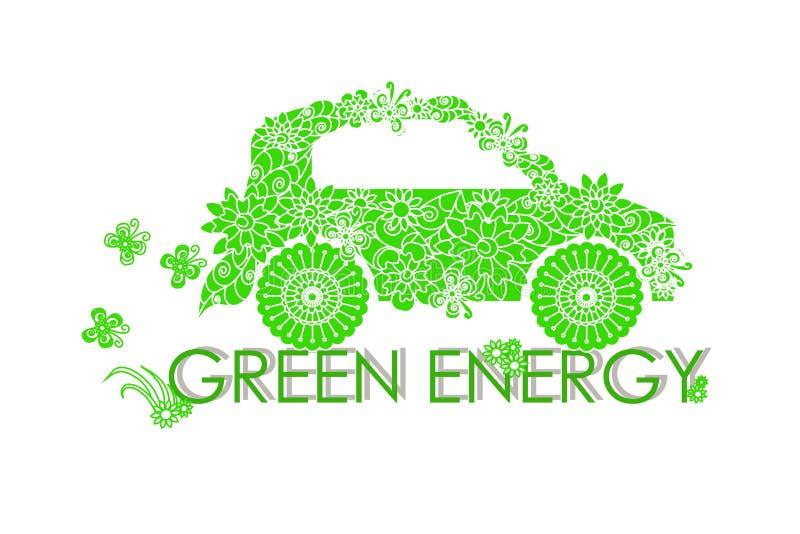 La energía del verde de la bandera de la tipografía, pone verde el coche estilizado del garabato de las flores en blanco libre illustration