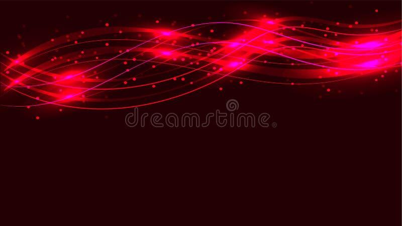 La energía mágica cósmica mágica brillante abstracta transparente rojo oscuro alinea, irradia con puntos culminantes y los puntos stock de ilustración