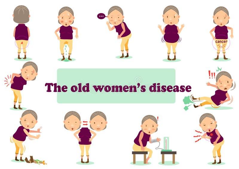 la enfermedad de la mujer mayor ilustración del vector