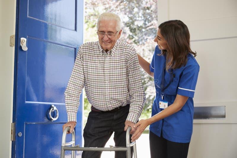 La enfermera ayuda al hombre mayor que usa el marco que camina en casa, cerca para arriba imagen de archivo