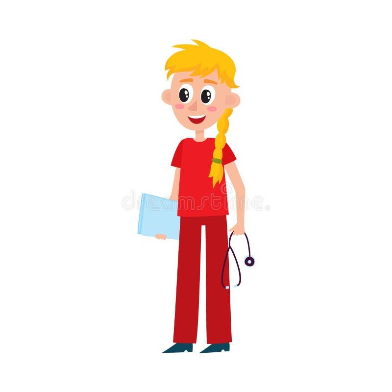La enfermera bonita joven, doctor, interno en rojo friega libre illustration