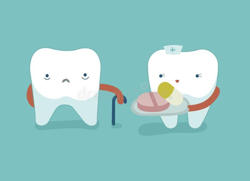 La enfermera del diente da las drogas para el diente, los dientes y el concepto débiles del diente de dental stock de ilustración