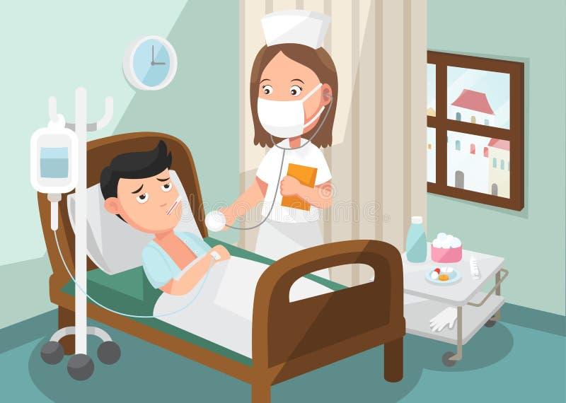 La enfermera que toma el cuidado del paciente en la sala del hospital stock de ilustración