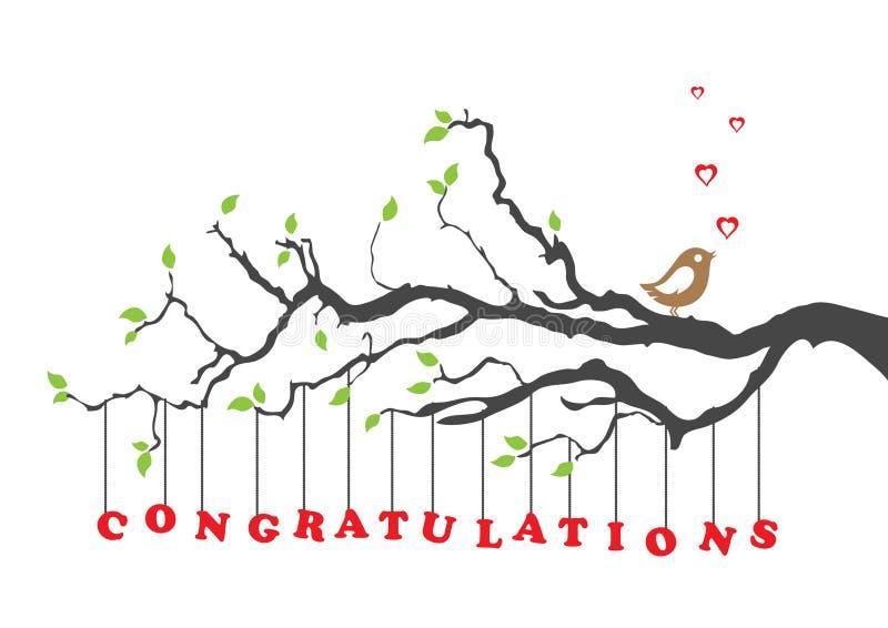 La enhorabuena carda con el pájaro ilustración del vector