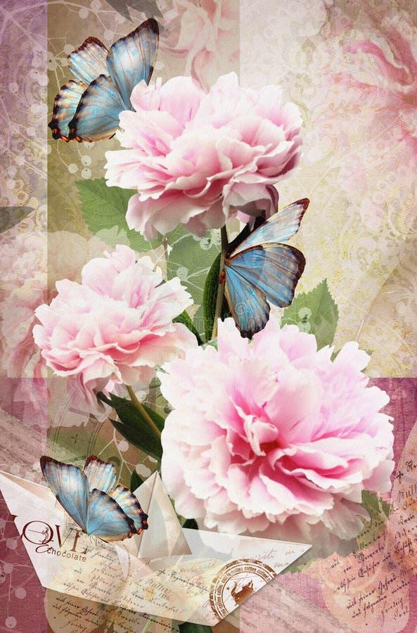 La enhorabuena carda con las peonías, las mariposas y el barco de papel ilustración del vector