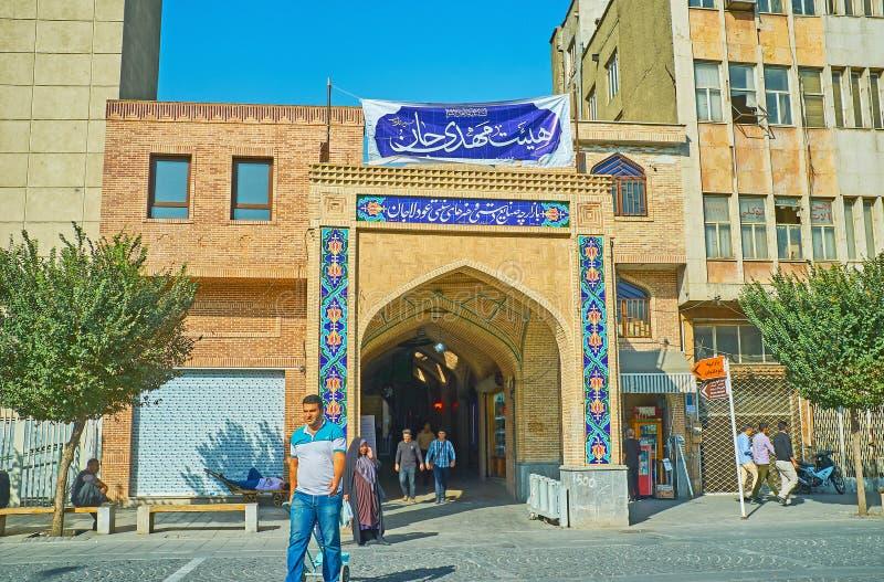 La entrada al mercado de Teherán imagenes de archivo