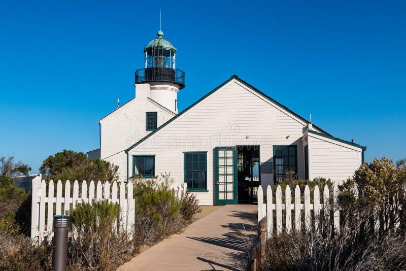 La entrada al ` s del encargado cuartea con el viejo punto Loma Lighthouse imagen de archivo