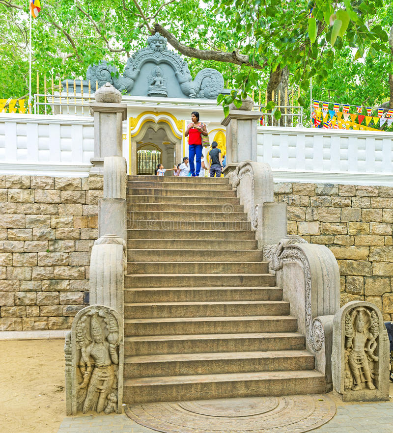 La entrada al templo del árbol de Bodhi fotos de archivo