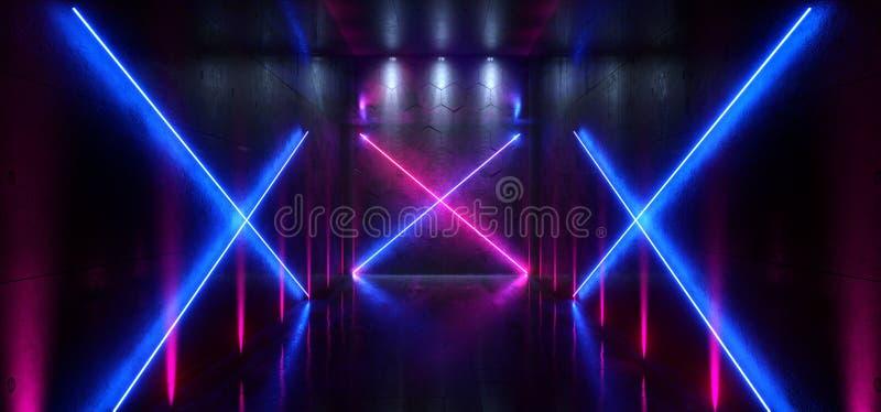 La entrada futurista de la puerta del laser Hall Neon Tunnel Path Track de Sci Fi pone de relieve colores vibrantes azules p?rpur libre illustration