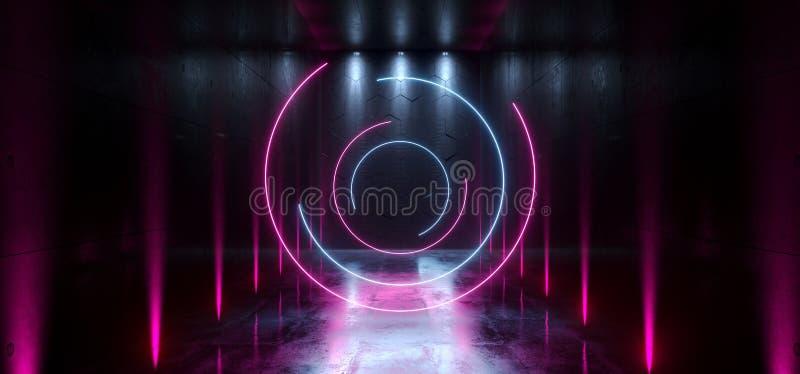 La entrada futurista de la puerta del laser Hall Neon Tunnel Path Track de Sci Fi pone de relieve colores vibrantes azules p?rpur ilustración del vector