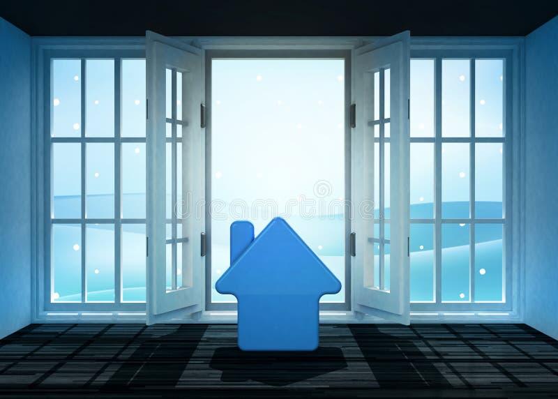 La entrata aperta con l'icona della casa e l'inverno abbelliscono la scena dietro royalty illustrazione gratis