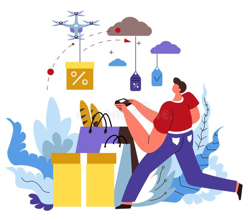 La entrega de la tienda de Internet, orden en línea, tienda de la web aisló el icono ilustración del vector