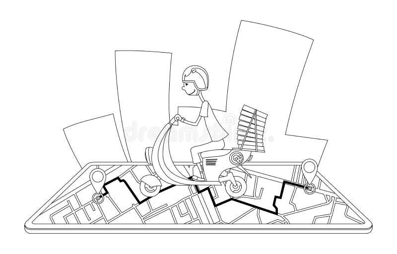 La entrega, el individuo en el ciclomotor está llevando el libro de colorear de la pizza caracteres Vector plano del diseño del c ilustración del vector