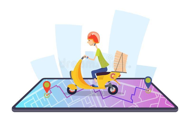 La entrega, el individuo en el ciclomotor est? llevando la pizza caracteres Ejemplo plano del vector del diseño del concepto de l stock de ilustración