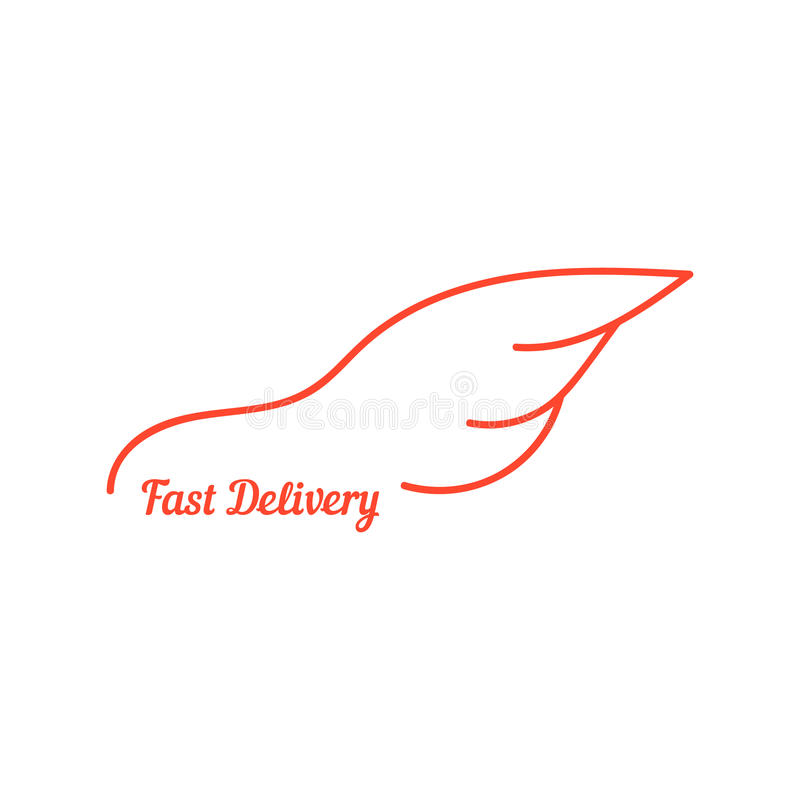 La entrega rápida con el ala le gusta el coche ilustración del vector