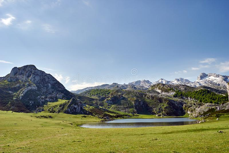 La Ercina lake. Covadonga. Asturias. Spain stock photo