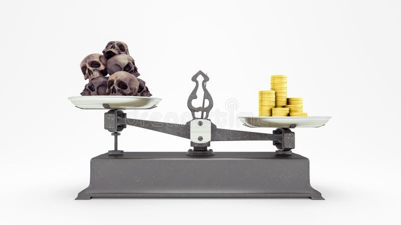 La escala de la balanza con los cr?neos y las monedas de oro humanos, dinero vale m?s que el concepto 3D de la vida rinde, el eje stock de ilustración