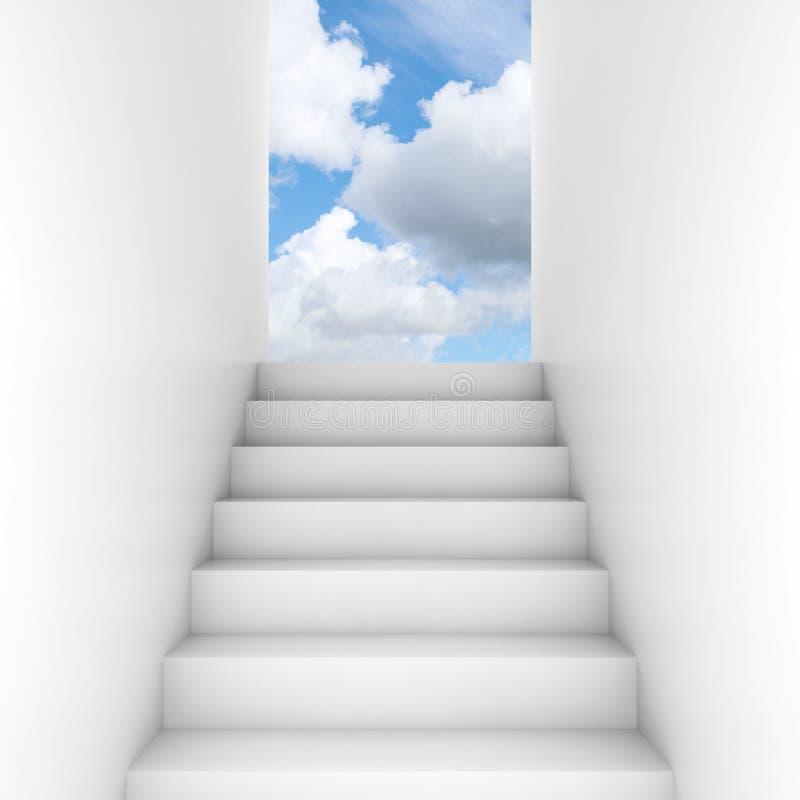 La escalera blanca sube a la puerta abierta libre illustration