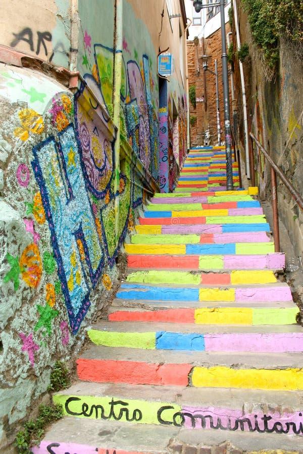 La escalera coloreada imagen de archivo