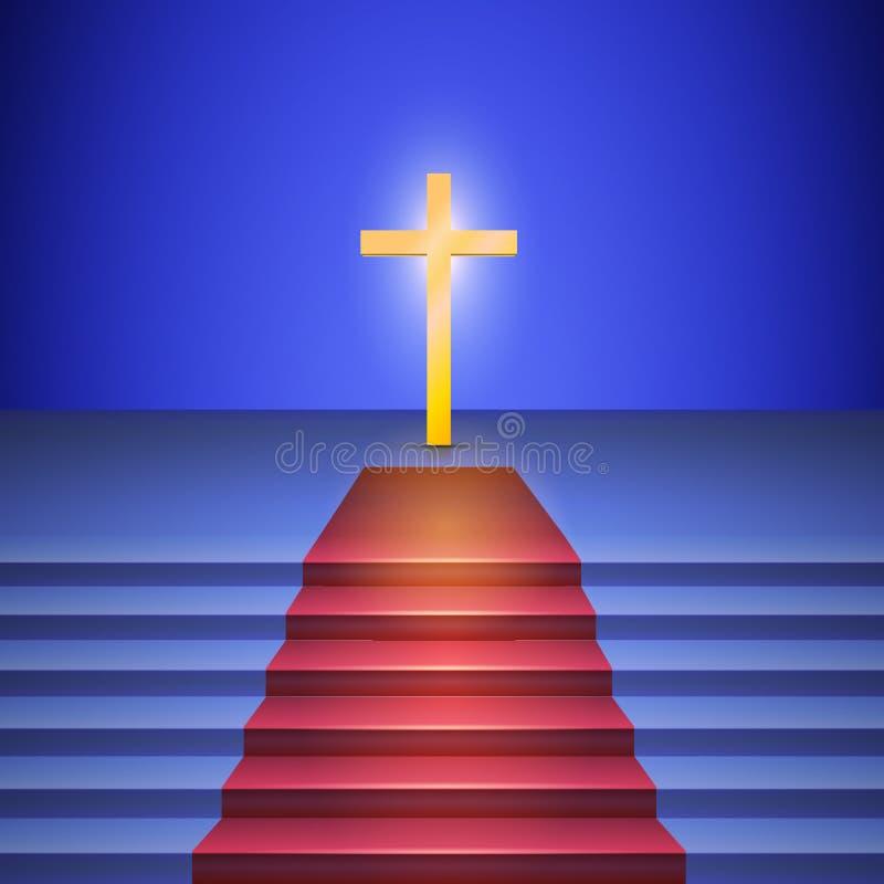 La escalera con la alfombra roja lleva para cruzar stock de ilustración