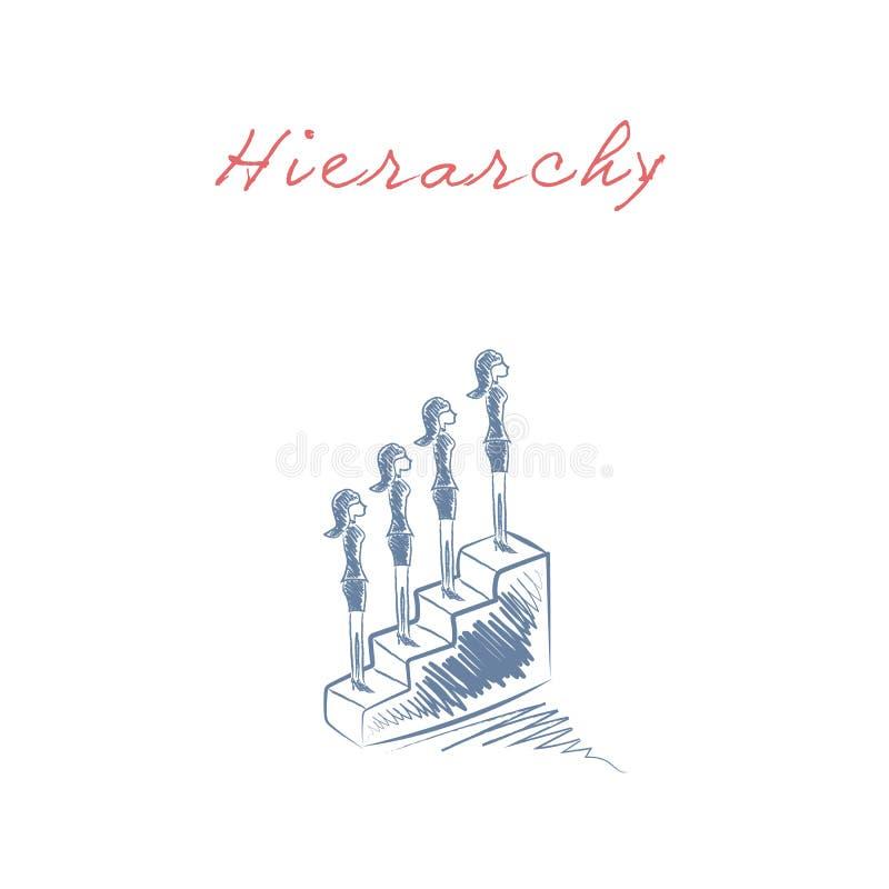 La escalera corporativa de la promoción de la jerarquía y de la carrera del negocio vector concepto stock de ilustración